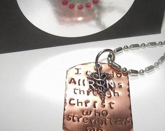 Nurse gift,  Custom stamped, Hand stamped jewelry, I can do all things in Christ, RN Necklace,  personalized, hand stamped necklace,