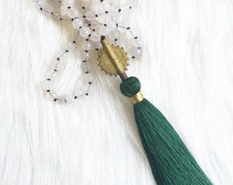 Knotted Tassel Necklace, Long Boho Necklace, Beaded Statement Necklace, Valentine's Day Gift, Gifts for Her