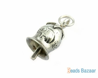 Karen Hill Tribe silver Tribal Elephant Bell Charm, 19mm : Actually bell can make noise