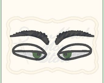 EYES #5 -  From The Silly Faces Collection - Machine Embroidery File - eyes - grumpy - mad - girl - boy - doll - doll face - doll making