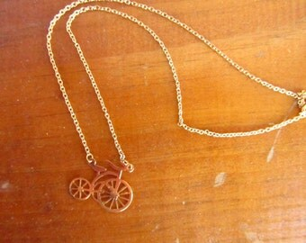 Vintage Gold Toned Old Fashioned Bicycle Necklace - Unicycle Old Fashioned Bicycle Jewelry