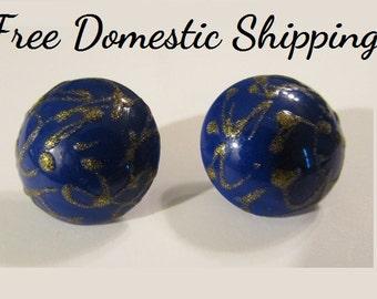 Avon Earrings, Blue Gold Earrings, Cobalt Blue Earrings, Avon Retro Earring, Vintage Earrings, Royal Blue Earring, Free US Shipping