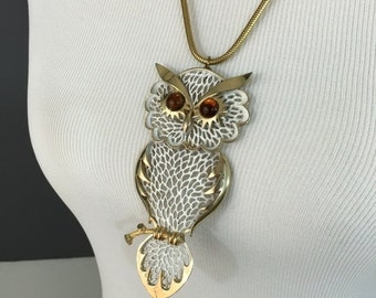 "ON SALE Large Vintage Owl Pendant Necklace with Snake Chain, 24"" Length, 4.5"" Pendant"