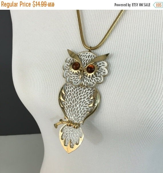 """ON SALE Large Vintage Owl Pendant Necklace with Snake Chain, 24"""" Length, 4.5"""" Pendant"""