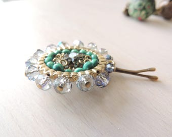 Rocking Beads Green & Transparent Bridal Hair Pin,hair accessory, jewelry, Gold Hair Clip, Hair pin,Amazing Vintage Style Pin , Bobby Pins