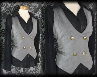 Gothic Grey Pinstripe Fitted INFERNAL Corset Waistcoat 12 14 Steampunk Victorian