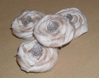 Shabby Chic Magnet SET in Muslin,Tuelle and Bling
