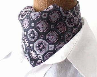 Ascot,Necktie scarf,  silk in pink-grey retro design