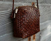 Vintage Woven Leather Purse with Braided Strap - Made in Brazil