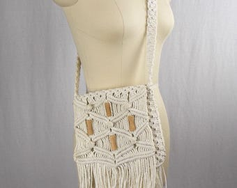 Vintage Macramé Fringed Shoulder Bag Festival Accessories