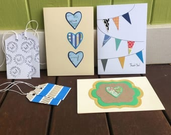 Greeting Card & Gift Tag Set, Mixed Pack, Upcycled Road Map Card, Thank You Card, Heart Card, Bunting, Washi Tape Gift Tags, Cards on Sale