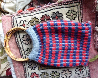 Vintage hand-knitted woollen bag purse bamboo handles lined with tartan