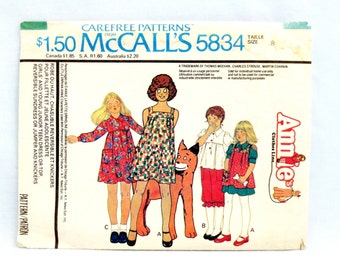 "McCalls 5834 Girls' Dress Top Reversible Sundress or Jumper & Knickers Size 8 Breast 27"" (69cm) Annie's Clothes Line Vintage 1977 Cut"