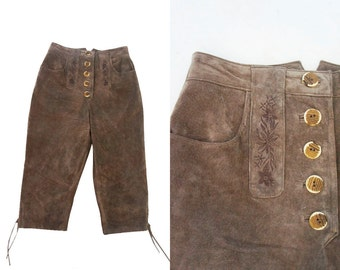 German suede capri pants. Trachten clothing.