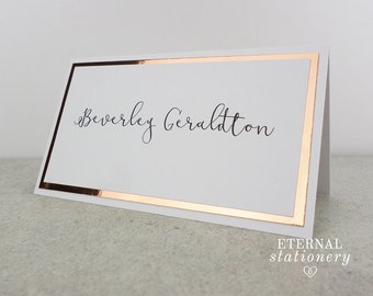 """Modern Place Card - """"Beverly"""", elegant, mirror board, silver, gold, white, rose gold"""