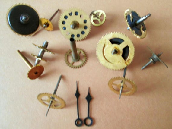 12 Assorted Antique Solid Brass + Metal Clock Parts for your Clock Projects, Steampunk Art, Altered Art