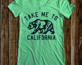 Take me to California graphic print  Women's Round neck T-shirts