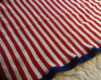 Crocheted lap afghan in red, white and blue