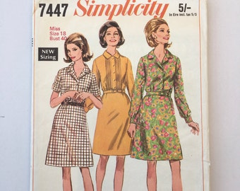 Vintage 1960's, Simplicity Shirt Dress, Fashion, Sewing Pattern ,Miss Size 18 Bust 40