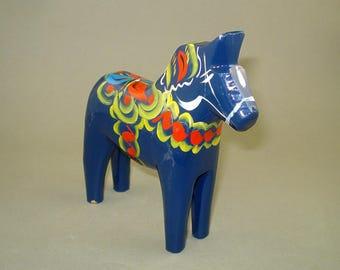 "Vintage old Swedish Wooden Blue Dala Horse  5 "" - Nils Olsson - wooden horse -  Free international shipping!!!"