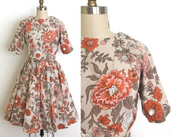 vintage 1950s dress | 50s citrus and peach floral insect print dress