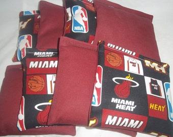 8 ACA Regulation Cornhole Bags - 4 handmade from Miami Heat Fabric & 4 Solid Burgundy Bags