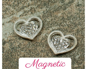 Magnetic silver heart earrings, magnetic clip on earrings, heart clip-on magnet earrings, wedding non-pierced earrings, Valentine's earrings