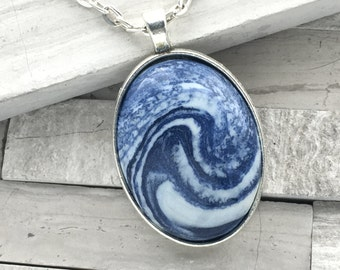Blue wave polymer clay oval pendant