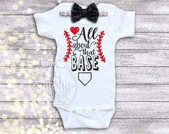 Girl Baseball Outfit, Baby Girl Baseball Bodysuit, Sparkly Baseball Outfit, Top & Headband, Preemie-6T, Trendy Baseball Fan