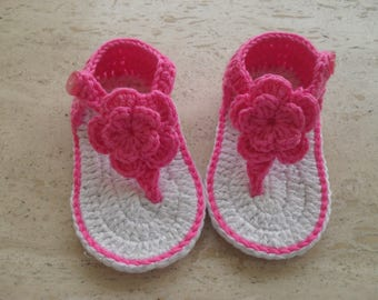 Crochet Baby Girl Shoes, Crochet Baby Girl Sandals, Flip Flops  - New Born 0 to 3 Mths Ready Made