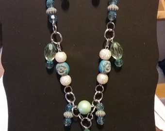 Blue Rose necklace and earrings