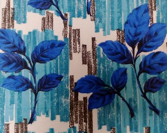 1960s Vintage blue and turquoise floral cotton Barkcloth fabric