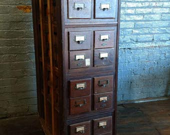 Card catalog cabinet | Etsy