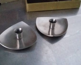 Retro pair price's brushed stainless steel candle holders.