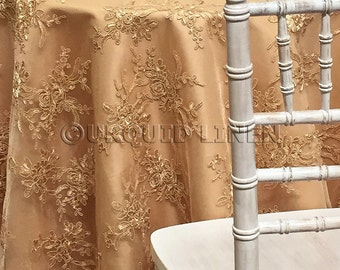 Laylani Lace Tablecloth in Gold - Ideal for Weddings & Bridal Events