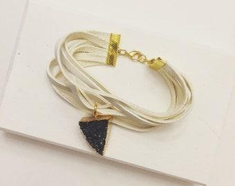 White Deerskin Lace Bracelet with Black Druzy Stone