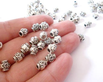 Small Solid Silver Tone Metal Beads_ PP65420085547_ Metal Beads of 7x6 mm hole 2/5 mm pack 50 pcs