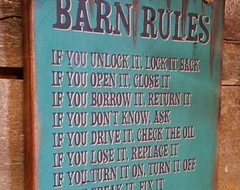 Barn Rules, Rustic, Western, Antiqued, Wooden Sign