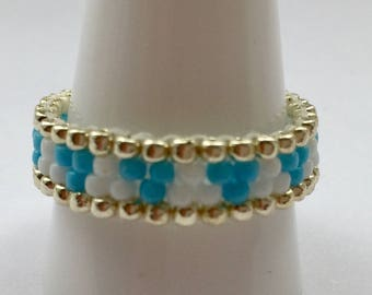 Stackable Beaded Ring in  Sky Blue, White and Silver