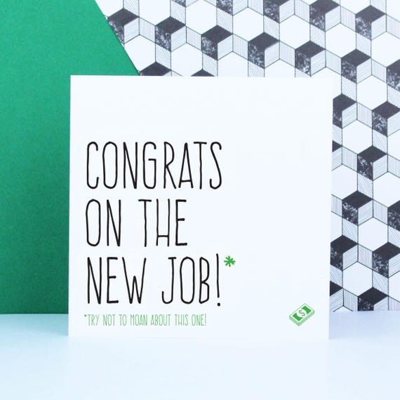 funny congratulations new job card leaving card for
