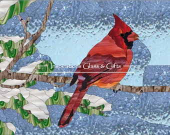 Stained Glass Pattern: Winter Cardinal