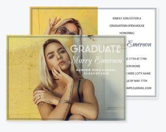 Graduation Announcement Photo Invitation PDF Template, Class of, High School, Graduation Invite, Graduation Party Invitation, DIY You Print