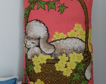Vintage Lamb Tea Towel Cushion