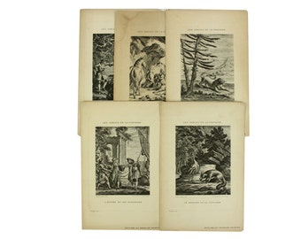 Vintage set of 5 engravings, the fables of Jean de la Fontaine. Reverse side with French text.