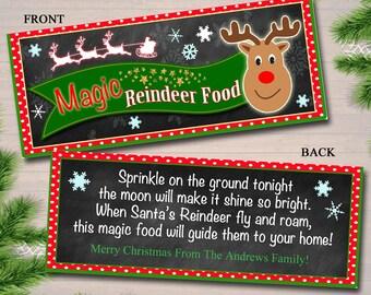 EDITABLE Magic Reindeer Food Bag Toppers, Printable Reindeer Food Tags, INSTANT DOWNLOAD, Xmas Bag Toppers Kids Christmas Eve, Teacher Gifts