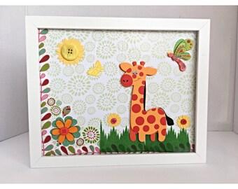 Orange Giraffe Framed, Nursery Giraffe Framed ,Kids Room Decor, Giraffe Wall Art Photo