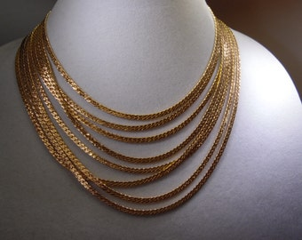 Lovely Vintage Monet Signed Gold tone Multi  Strand Chain Necklace
