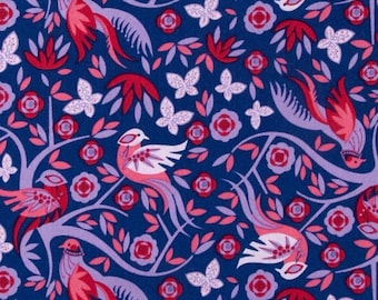 Floral Fabric by the Yard, Quilting, Cotton, Peony, Pheasant, Bird, Butterfly, Garden, Imperial, Large Print, Navy, Red, Lilac, Decor