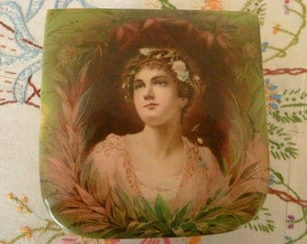 Antique Victorian Celluloid Handkerchief Dresser Box Lady with Flower Garland in Her Hair