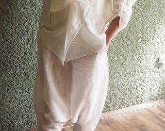 Oversize summer Top and Harem pants/ LINEN SET/Casual Top Pants set/Loose blouse/Maxi tunic/Oversize set Nara CT005
